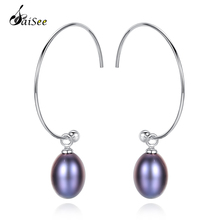 SaiSee 925 Silver Earrings Big Circle Bohemian FreshWater Pearl Women Engagement Jewelry White Pink Purple Black