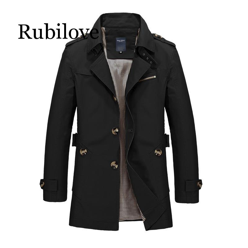 Rubilove Long Leather Trench Coat Men 2019 New Men's Spring Casual Jacket Windbreaker Outerwear High Quality Fashion Long Coat