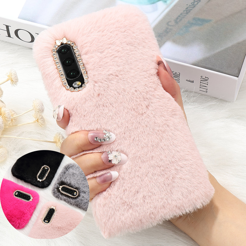 LLZ.COQUE Luxury Fur Case for Samsung Galaxy A70 A50 A40 A30 A20 A20E A10 A10E A8 A6 A3 J6 J5 J4 Plus J3 Cute Soft Diamond Cover image
