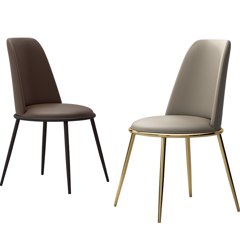 Nordic Dining Chair Light Luxury Office Chair Home Back Leather Chair Modern Simple Hotel Restaurant Business Reception Chair