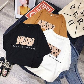 Hirsionsan Leopard Print T shirts Women 2019 Spring Summer Hot Tees Casual O-Neck Short Sleeve Harajuku Cool T-shirt Female Tops 6