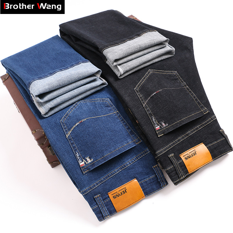 Classic Style Men's Business Stretch Jeans Fashion Thick Denim Trousers Male Blue Black Brand Trousers Plus Size 38 40 42