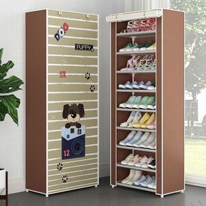 Image 2 - Simple Non woven Cloth Fabric Dustproof Shoe Rack Folding Assembly Metal Shoe Rack Home Shoe Organizer Cabinet
