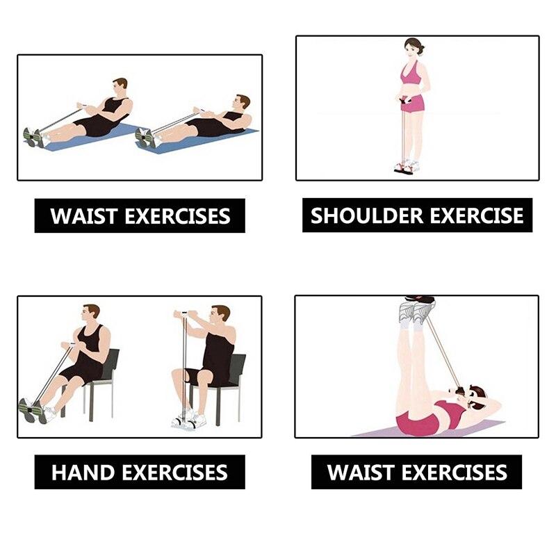 Фитнес-резинка, 4 трубки, Эспандеры, латексный Педальный Тренажер, сидячий эспандер, эспандер, эластичные ленты, оборудование для йоги, пилатеса, тренировки-4