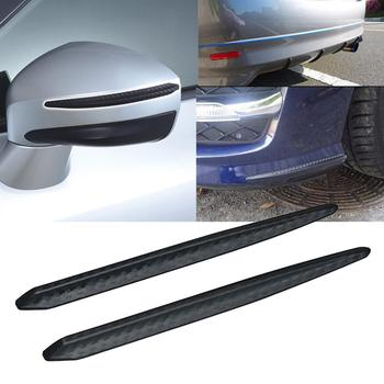 2pcs Car Bumper Protector Corner Guard Anti-Scratch Strips Sticker Carbon Fiber Body Mirror Bars Protection