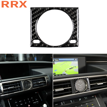 For Lexus IS250 300 350 200 T 2013-18 Carbon Fiber Car Styling Dashboard Center Clock Watch Decorative Ring Cover Trim Sticker image
