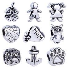 Vintage Tibet Silber Farbe Familie Mom Herz Hund Pfote Anhänger fit Pandora Charms Armbänder für Frauen Original Armreifen DIY Geschenke