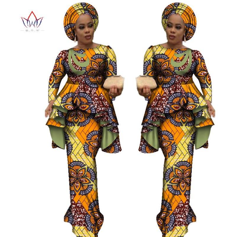 Afrika Stil Bazin Riche Kleider für Frauen Zwei Stücke Gesetzt Frauen Langarm Tops und Lange Afrikanische Druck Rock Plus größe WY2488