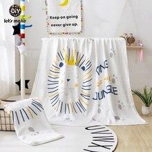 Lets Make 110*110 Baby Blanket Soft Muslin Diaper For Newborn Swaddle Wrap Animal Cartoon Unicorn Lion Knitted Children