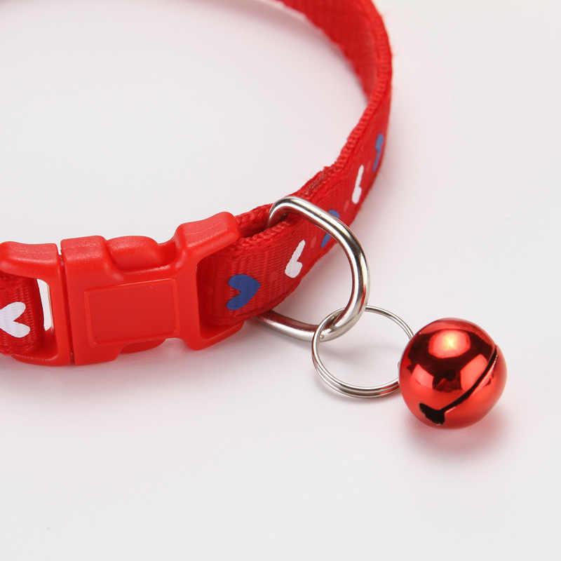 2020 Kucing Anjing Kerah dengan Bell Jantung Dicetak Leher Tali Polyester Adjustable Anak Hewan Anjing Tali Keselamatan Anjing Persediaan Grosir