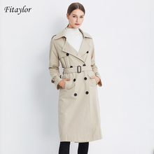 Fitaylor Outono Mulheres Double Breasted Longo Trench Coat Cáqui Cinto Casual Feminina Slim Fit Turn Down Collar Windbreaker Outwear