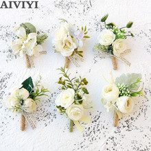 Artificial Rose Flower Groom Boutonniere Man Corsage Father Brother Wedding Flowers Man Suit Party Decoration
