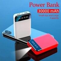 30000mAh Mini Power Bank con doppia USB LED luci caricabatterie esterno per ricarica rapida Power Bank per iPhone 12Pro Huawei