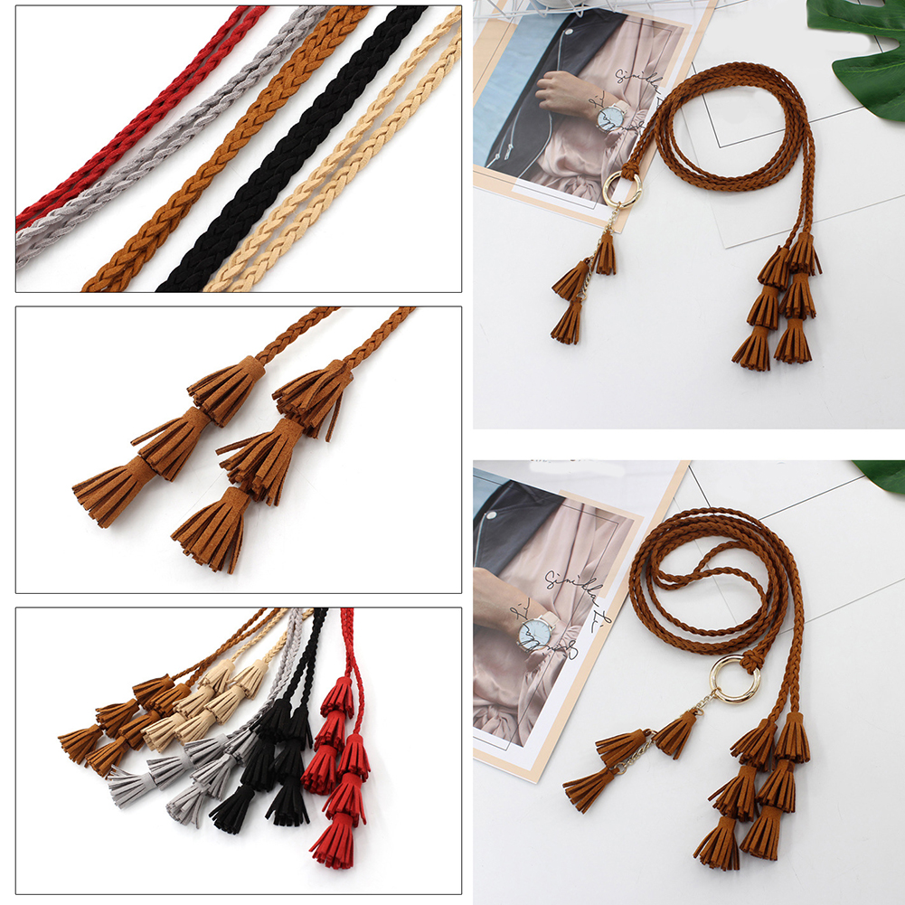 Fashion Women Solid Color Braided Tassel Belt 2020 New Boho Girls Thin Waist Rope Knit Belts For Dress Waistbands Accessories