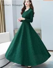 2020 outono nova chegada de alta qualidade venda quente cheongsam estilo v colarinho cor sólida manga longa feminina vestido longo