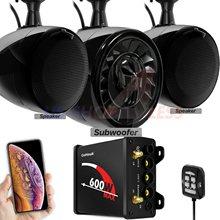 Aieap 600W wzmacniacz Audio motocyklowe System ATV UTV RZR Polaris WildCat Marine Stereo głośniki z Bluetooth Radio z subwooferem