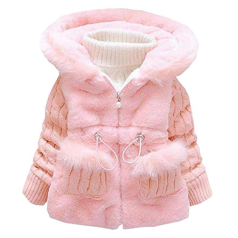 LOOZYKIT 2019 New Winter Baby Girls Warm Clothes Cotton Coat Pageant Warm Jacket Snowsuit Baby Fur Hooded Jacket
