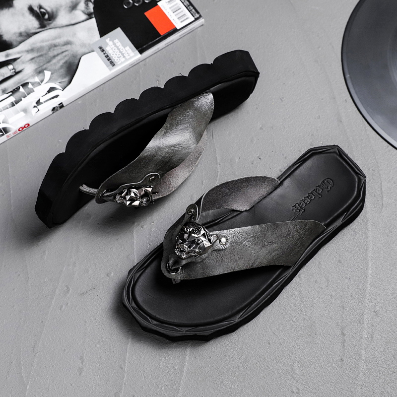 Alta qualidade sapatos marca chinelos de couro