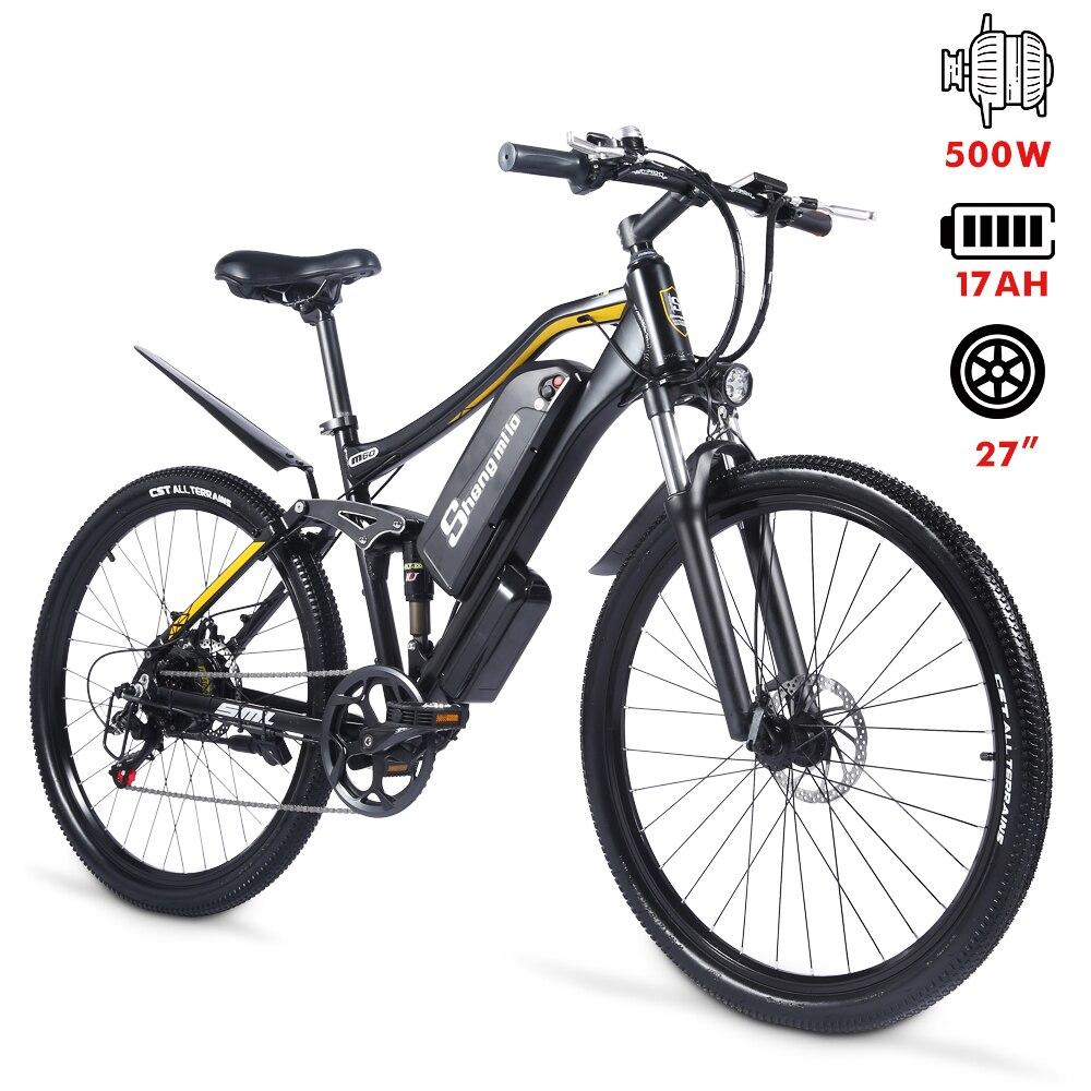 Electric Bike M60 Plus Mountain Ebike 500W Men's Bicycle 27.5Inch Outdoor For Beach MTB 48V17AH Sport Cycling Snowbike ShengMilo 4