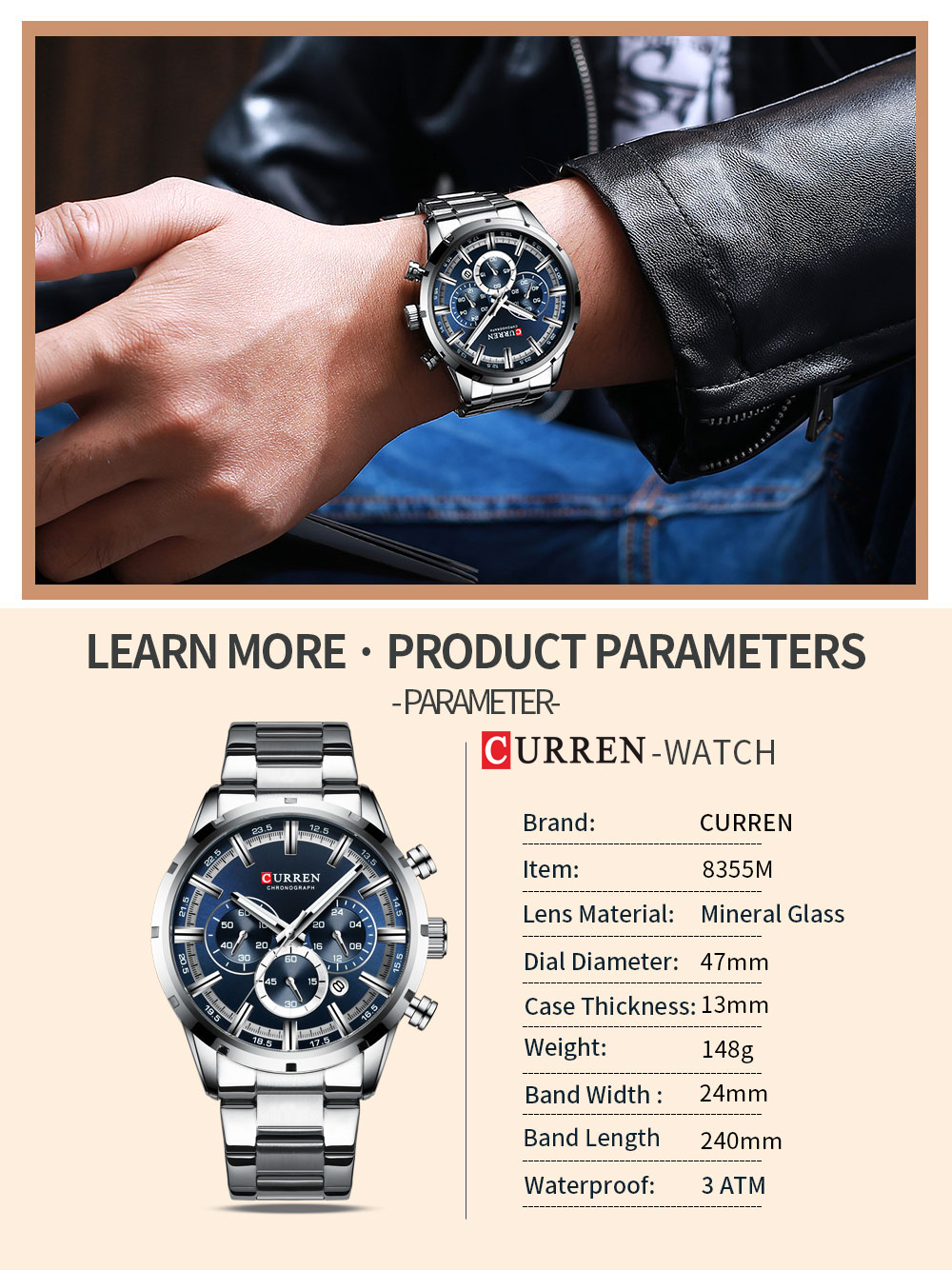 H1bdf9a65a09a4b408a5ab7699c6e4a15P CURREN Top Brand Military Quartz Watches Silver Clock Mens Quartz Stainless Steel Chronograph Watch for Men Casual Sporty Watch