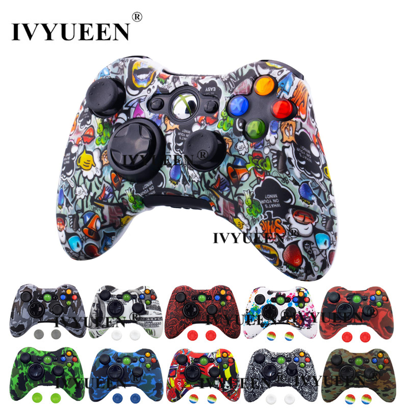 IVYUEEN for Microsoft Xbox 360 Wired / Wireless Controller Silicone Rubber Protective Case Cover Skin Grips Game Accessories