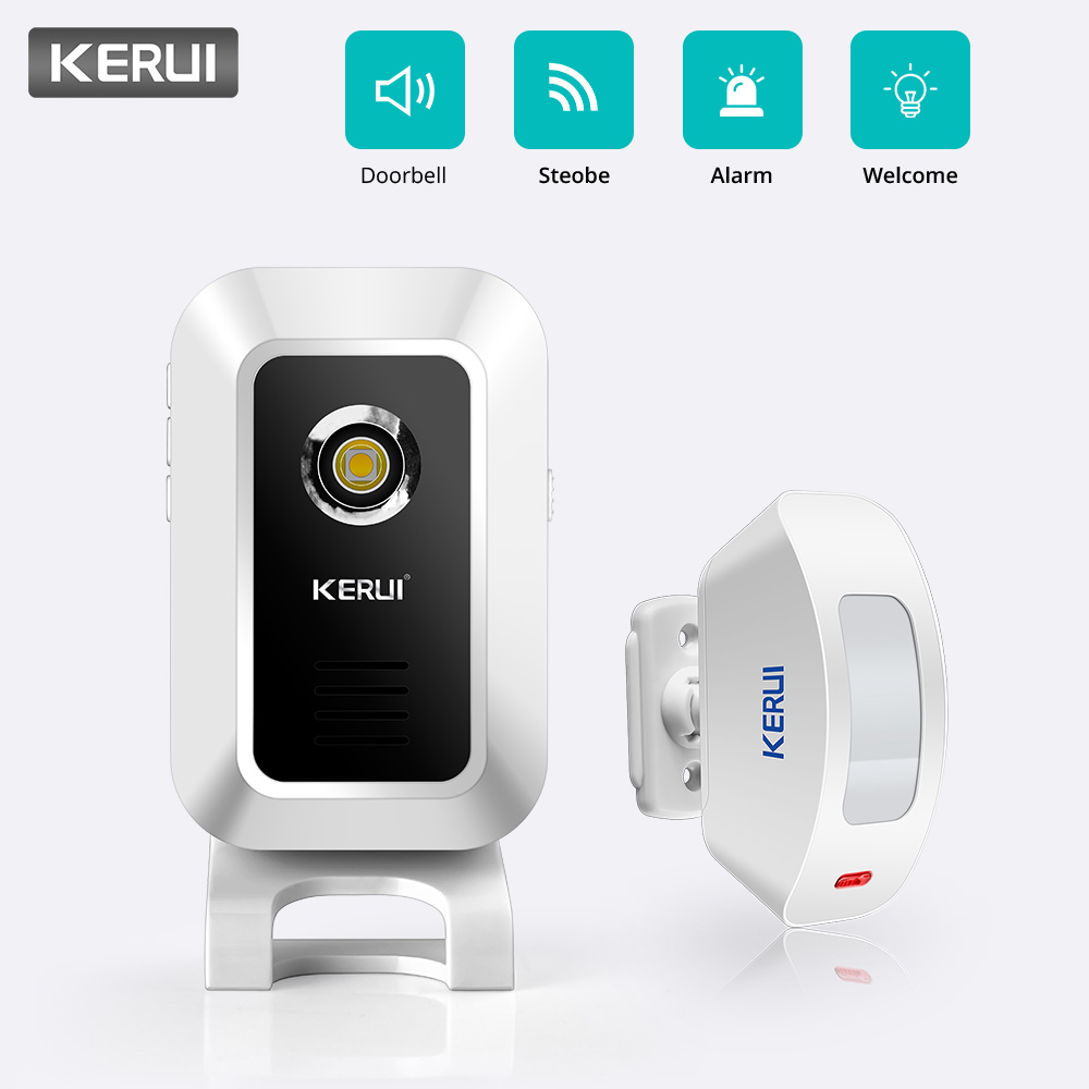 KERUI Wireless 433MHz  Curtain PIR Motion Wireless Strobe Light Welcome Chime Doorbell Burglar Alarm System