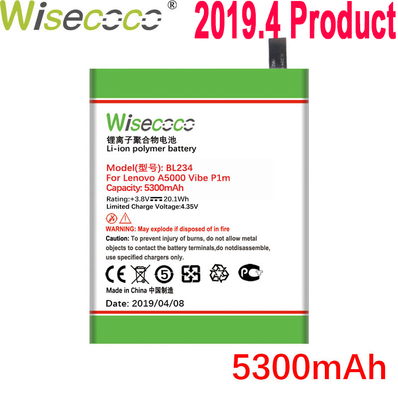 WISECOCO 5300mAh <font><b>BL234</b></font> Battery For <font><b>Lenovo</b></font> A5000 Vibe P1M P1MA40 P70 P70t P70-T P70A P70-A Mobile Phone With Tracking Number image