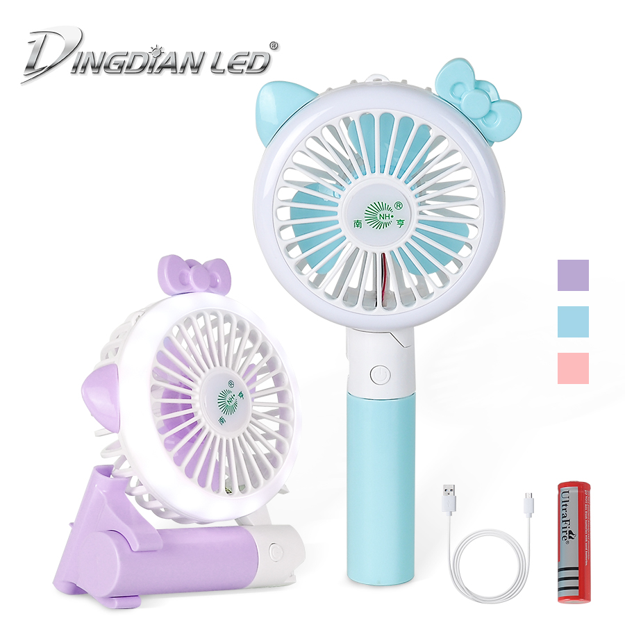 LED HandFan Mini Hand Fan,18650 Battery Foldable Small Desk Fan,USB Rechargeable Electric Fan Portable Cooling Fan With Light