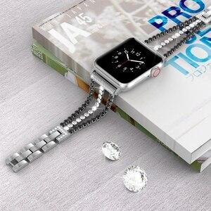 Image 2 - Elmas kayış Apple için saat kayışı 40mm 44mm Bling takı paslanmaz çelik Band kadınlar için iWatch serisi 5 4 3 2 1 38mm 42mm