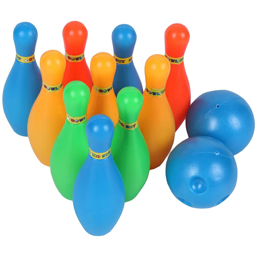 12Pcs/Set Kids Bowling Toy Solid Color Pins Balls Bowling Game Indoor Sport Development Toy
