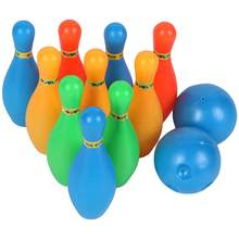 12 Stks/set Kids Bowling Speelgoed Effen Kleur Pins Ballen Bowling Game Indoor Sport Ontwikkeling Speelgoed(China)