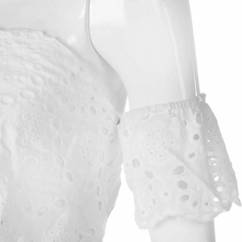 섹시한 여름 레이스 패치 워크 캐주얼 티셔츠 어깨 여성 탑스 화이트 짧은 셔츠 티 새로운 상위 Streetwear 레이스 작물 상단