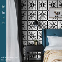 tile waterproof wall stickers kitchen floor tile sticker Self adhesive white and black style bathroom wallpaper anti-slip floor(China)