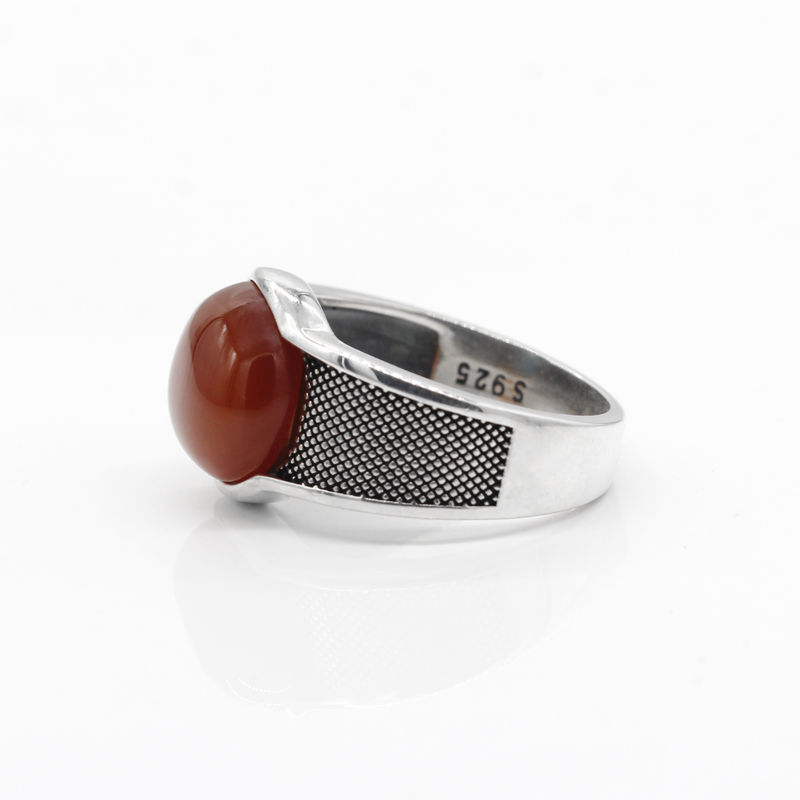 Image 4 - New Natural Onyx Stone Ring For Men Solid 925 Sterling Silver  Thai Silver Red Semi precious Stone Men Ring Turkish JewelryRings   -