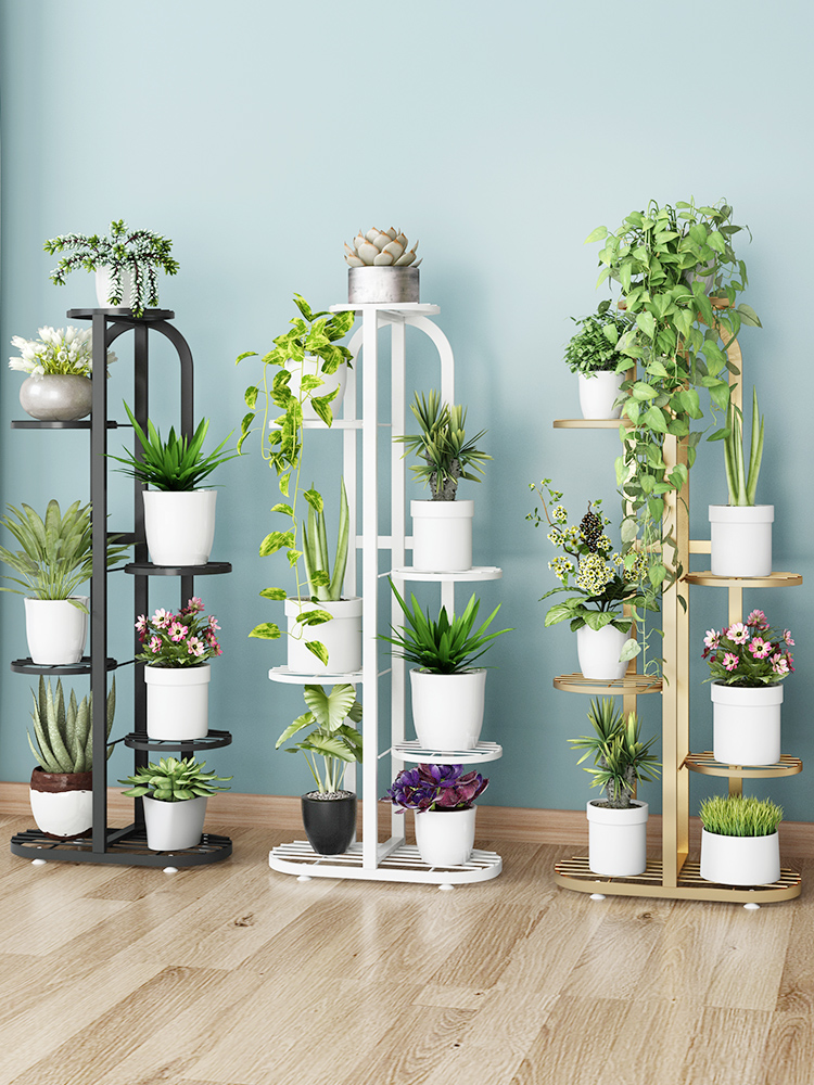 Modern Flower Pot Shelf Wrought Iron Balcony Living Room Interior Decoration Floor-standing Multi-layer Flower Shelf Storage