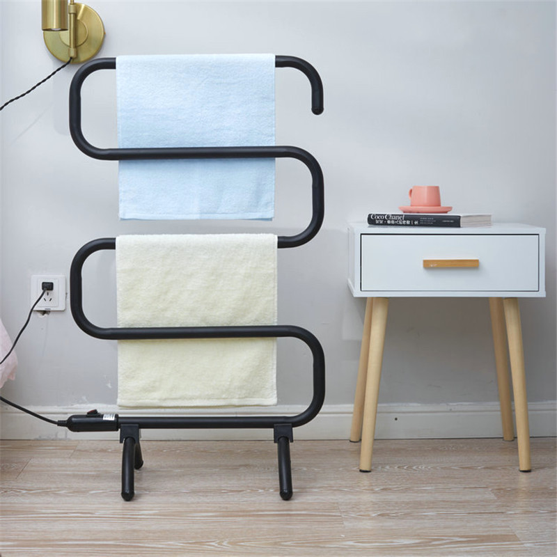 Electric Heating Towel Rack Floor Stand Towel Holder Rail Constant Temperature Towel Warmer Rail Bathroom Towel Dryer S Shape