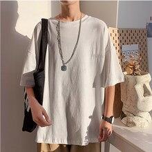 White Black LOOSE Oversize 2021 Summer T Shirt MEN'S ROCK Skateboard Hip Hop T-shirt Short Sleeves Streetwear TOPS TEES TSHIRT