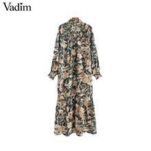Vadim kadın moda çiçek desen maxi elbise büyük boy uzun kollu kadın şık ayak bileği uzunluk elbise düz vestidos QC884