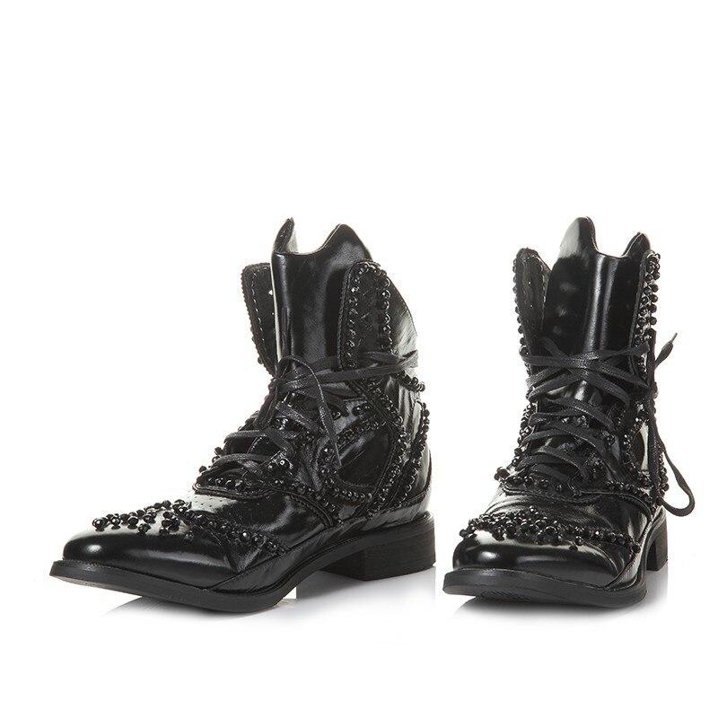 Hiver britannique bottes hommes Designer cristal perlé Vintage bottines pointues en cuir véritable Punk chaussures noir haut baskets - 3