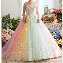 Pretty Colorful Rainbow Tutu Prom Dresses 3D Flower Lace Puffy Ball Gowns Vestid