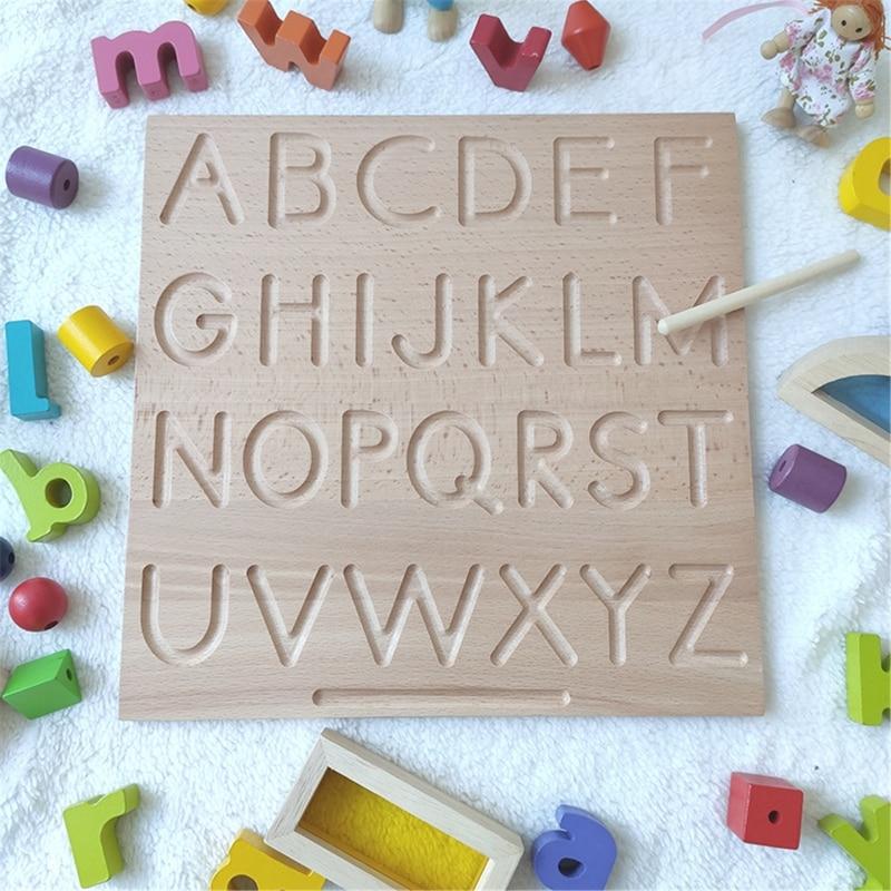 Alfabeto de madeira placa de rastreamento de letras montessori-letras de madeira-letras de impressão grandes para criança para pré-escolar-reversível