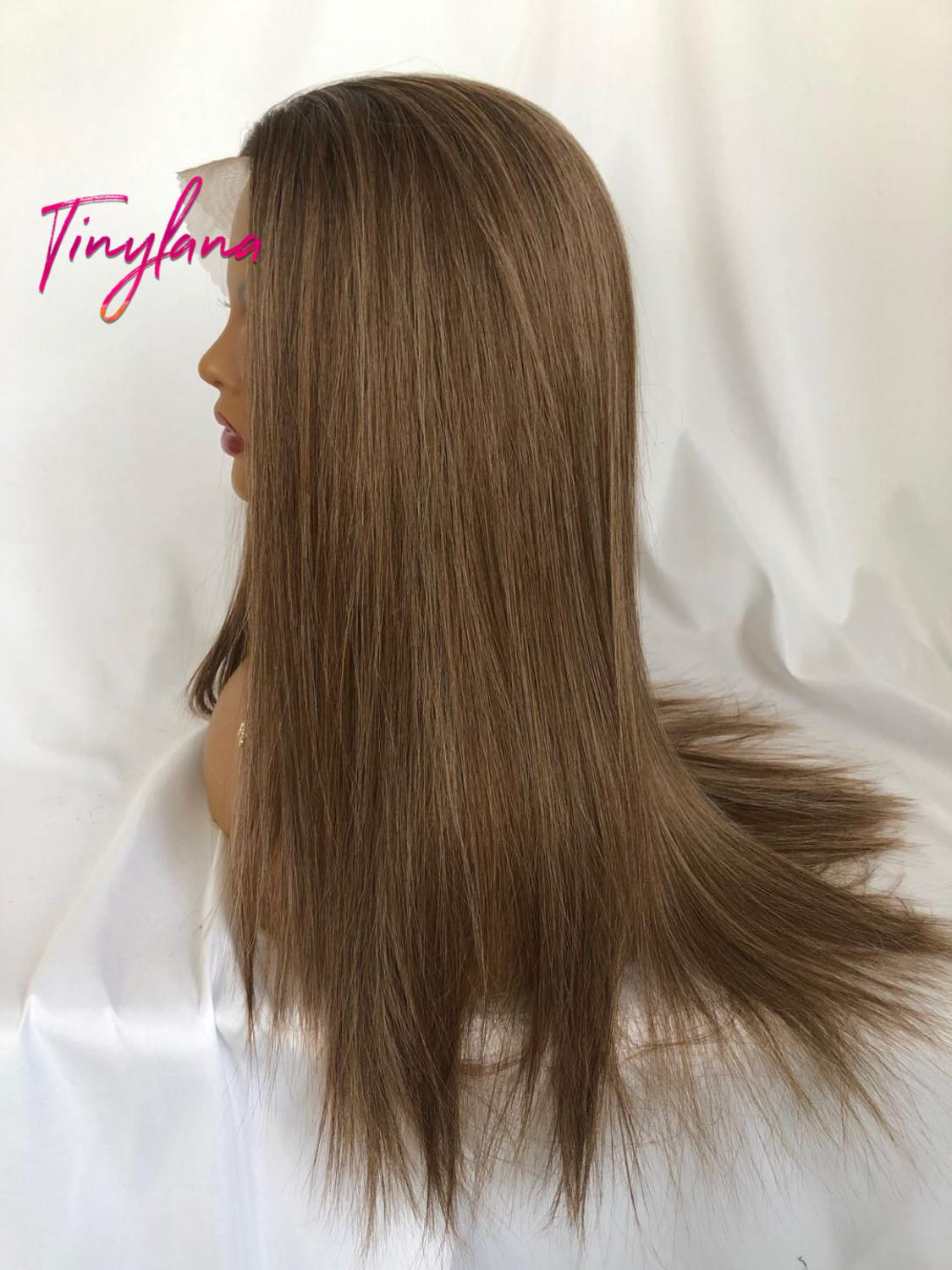 Image 3 - TINY LANA Long Silky Straight Brown Blonde Lace Front Wig with Baby Hair Heat Resistant 100%Futura Synthetic Wigs for WomenSynthetic Lace Wigs   -