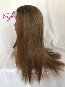 Image 3 - TINY LANA Long Silky Straight Brown Blonde Lace Front Wig with Baby Hair Heat Resistant 100%Futura Synthetic Wigs for Women