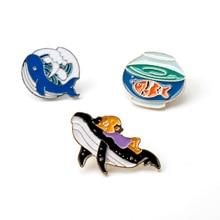 Cartoon Goldfish Ocean whale Little Girl Enamel Metal Brooches Bag Clothes badges Lapel Pins Jewelry For Kids Children Friends little whale
