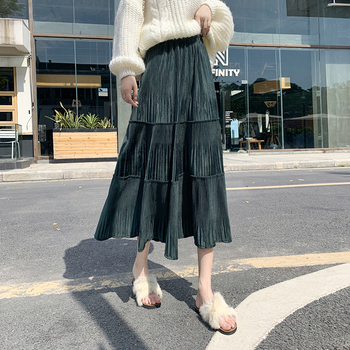 하라주쿠 한국스타일 Velvet Vintage A-Line Long Skirt 2021 New Autumn And Winter Fashion Solid High-Waist Mid-Calf Skirts All-Match