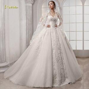 Image 1 - Loverxu מתוקה כדור שמלת חתונת שמלות אלגנטי Applique שרוולים תחרה עד הכלה שמלות משפט רכבת כלה שמלה בתוספת גודל