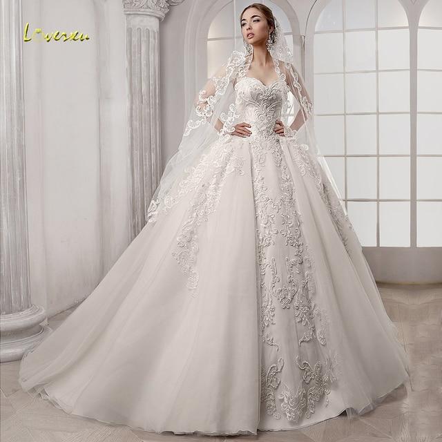 Loverxu מתוקה כדור שמלת חתונת שמלות אלגנטי Applique שרוולים תחרה עד הכלה שמלות משפט רכבת כלה שמלה בתוספת גודל