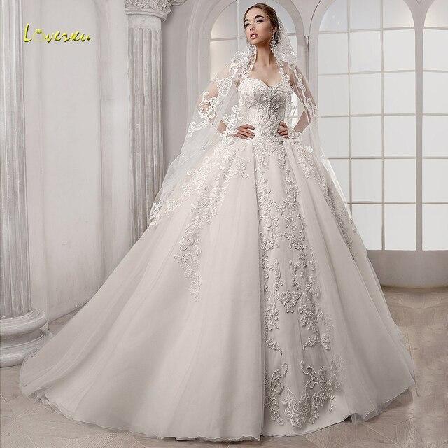 Loverxu Schatz Ballkleid Hochzeit Kleider Elegante Ärmellose Spitze Applique Up Braut Kleider Gericht Zug Brautkleid Plus Größe