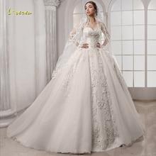 Loverxu Sweetheart Baljurk Trouwjurken Elegante Applique Mouwloze Lace Up Bruid Jurken Hof Trein Bruidsjurk Plus Size