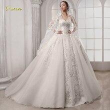 Loverxu chérie robe de bal robes de mariée élégant Applique sans manches à lacets robes de mariée Court Train robe de mariée grande taille